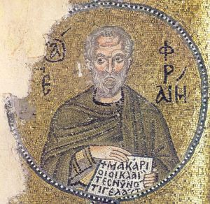 "Ephrem the Syrian, Mosaic in Nea Moni, 11th cent. Source. The lines at the bottom are from Lk 6:21: ""Blessed are those who weep now, because you will laugh."""