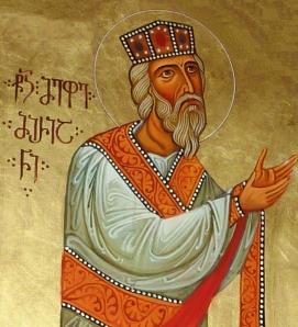 Ⴜ(ႫႨႣႠ)Ⴢ ႫႤႴႤ ႫႨႰႨႠႬႤ   წ(მიდა)ჲ მეფე მირიანი. King Mirian, from the Samtavisi Cathedral. Source.
