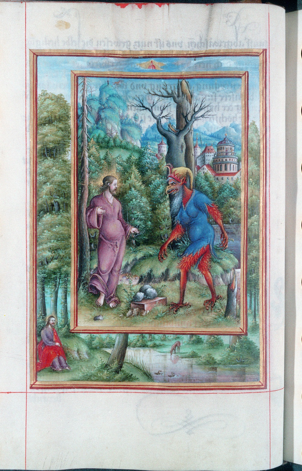 Temptation of Jesus. Vind. Pal. 1847 (16th cent.) See further here.