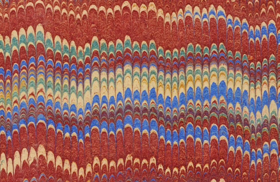 MBM 152, marbled endpapers.