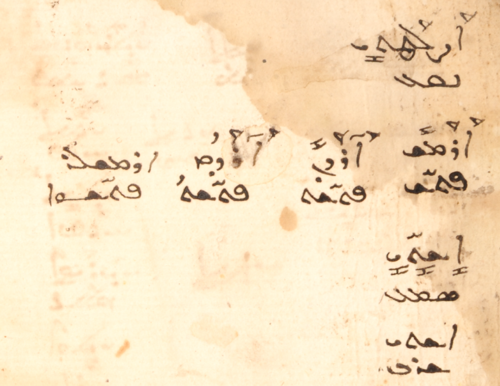 MBM 469, f. 1v. Turkish words with Arabic/Garšūnī equivalents.