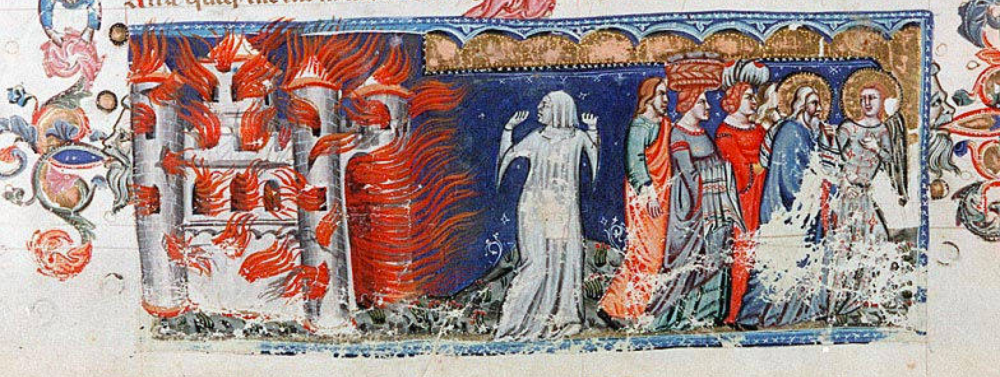 The flight from Sodom, with Lot's wife turned into salt. Vindobonensis Palatinus 1191, f. 10v. 14th century. Source.