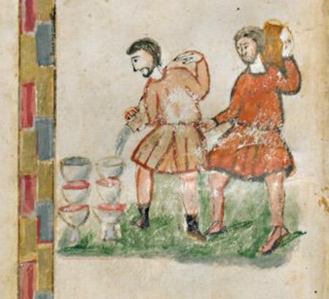 Rabbula Gospels, f. 5r. The servants filling the jugs with the water that will become wine.